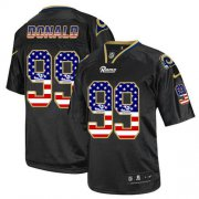 Wholesale Cheap Nike Rams #99 Aaron Donald Black Men's Stitched NFL Elite USA Flag Fashion Jersey