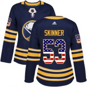Wholesale Cheap Adidas Sabres #53 Jeff Skinner Navy Blue Home Authentic USA Flag Women's Stitched NHL Jersey