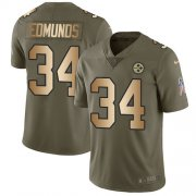 Wholesale Cheap Nike Steelers #34 Terrell Edmunds Olive/Gold Youth Stitched NFL Limited 2017 Salute to Service Jersey