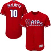 Wholesale Cheap Phillies #10 J. T. Realmuto Red Flexbase Authentic Collection Stitched MLB Jersey