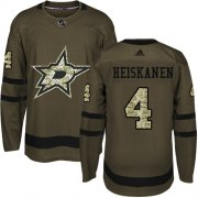 Wholesale Cheap Adidas Stars #4 Miro Heiskanen Green Salute to Service Youth Stitched NHL Jersey