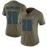 Wholesale Cheap Nike Eagles #20 Brian Dawkins Olive Women's Stitched NFL Limited 2017 Salute to Service Jersey