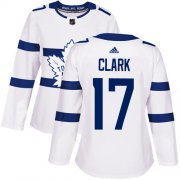 Wholesale Cheap Adidas Maple Leafs #17 Wendel Clark White Authentic 2018 Stadium Series Women's Stitched NHL Jersey