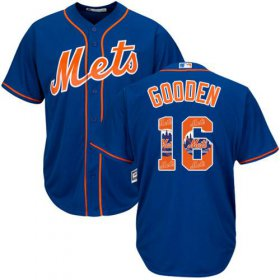 Wholesale Cheap Mets #16 Dwight Gooden Blue Team Logo Fashion Stitched MLB Jersey