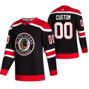 Wholesale Cheap Chicago Blackhawks Custom Black Men's Adidas 2020-21 Reverse Retro Alternate NHL Jersey