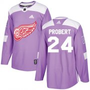 Wholesale Cheap Adidas Red Wings #24 Bob Probert Purple Authentic Fights Cancer Stitched NHL Jersey