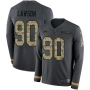 Wholesale Cheap Nike Dolphins #90 Shaq Lawson Anthracite Salute to Service Youth Stitched NFL Limited Therma Long Sleeve Jersey