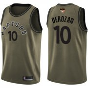 Wholesale Cheap Raptors #10 DeMar DeRozan Green Salute to Service 2019 Finals Bound Basketball Swingman Jersey