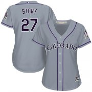 Wholesale Cheap Rockies #27 Trevor Story Grey Road Women's Stitched MLB Jersey