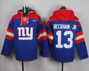 Wholesale Cheap Nike Giants #13 Odell Beckham Jr Royal Blue Player Pullover NFL Hoodie