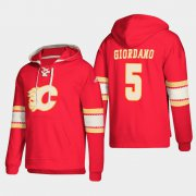Wholesale Cheap Calgary Flames #5 Mark Giordano Red adidas Lace-Up Pullover Hoodie