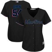 Wholesale Cheap Marlins #54 Wei-Yin Chen Black Alternate Women's Stitched MLB Jersey