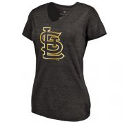 Wholesale Cheap Women's St.Louis Cardinals Fanatics Apparel Gold Collection V-Neck Tri-Blend T-Shirt Black
