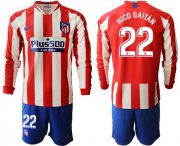 Wholesale Cheap Atletico Madrid #22 Nico Gaitan Home Long Sleeves Soccer Club Jersey