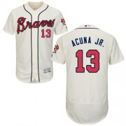 Wholesale Cheap Braves #13 Ronald Acuna Jr. Cream Flexbase Authentic Collection Stitched MLB Jersey