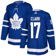 Wholesale Cheap Adidas Maple Leafs #17 Wendel Clark Blue Home Authentic Stitched NHL Jersey