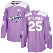 Wholesale Cheap Adidas Capitals #25 Devante Smith-Pelly Purple Authentic Fights Cancer Stitched NHL Jersey
