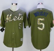 Wholesale Cheap Mets #5 David Wright Green Camo New Cool Base Stitched MLB Jersey