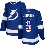 Wholesale Cheap Adidas Lightning #9 Tyler Johnson Blue Home Authentic USA Flag Stitched NHL Jersey