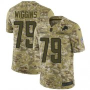 Wholesale Cheap Nike Lions #79 Kenny Wiggins Camo Youth Stitched NFL Limited 2018 Salute To Service Jersey