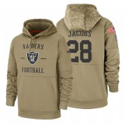 Wholesale Cheap Oakland Raiders #28 Josh Jacobs Nike Tan 2019 Salute To Service Name & Number Sideline Therma Pullover Hoodie