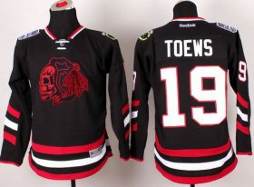 Wholesale Cheap Blackhawks #19 Jonathan Toews Black(Red Skull) 2014 Stadium Series Stitched Youth NHL Jersey