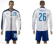Wholesale Cheap Italy #26 Padelli White Away Long Sleeves Soccer Country Jersey