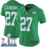 Wholesale Cheap Nike Eagles #27 Malcolm Jenkins Green Super Bowl LII Women's Stitched NFL Limited Rush Jersey