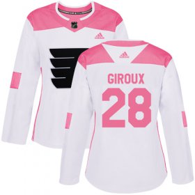 Wholesale Cheap Adidas Flyers #28 Claude Giroux White/Pink Authentic Fashion Women\'s Stitched NHL Jersey