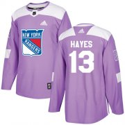 Wholesale Cheap Adidas Rangers #13 Kevin Hayes Purple Authentic Fights Cancer Stitched Youth NHL Jersey