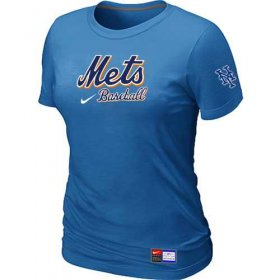 Wholesale Cheap Women\'s New York Mets Nike Short Sleeve Practice MLB T-Shirt Indigo Blue