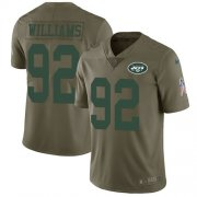 Wholesale Cheap Nike Jets #92 Leonard Williams Olive Youth Stitched NFL Limited 2017 Salute to Service Jersey