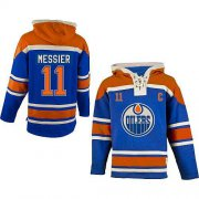 Wholesale Cheap Oilers #11 Mark Messier Light Blue Sawyer Hooded Sweatshirt Stitched NHL Jersey