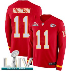 Wholesale Cheap Nike Chiefs #11 Demarcus Robinson Red Super Bowl LIV 2020 Team Color Men\'s Stitched NFL Limited Therma Long Sleeve Jersey