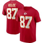 Wholesale Cheap Kansas City Chiefs #87 Travis Kelce Nike Team Player Name & Number T-Shirt Red