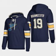 Wholesale Cheap St. Louis Blues #19 Jay Bouwmeester Blue adidas Lace-Up Pullover Hoodie