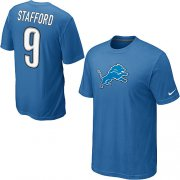 Wholesale Cheap Nike Detroit Lions #9 Matthew Stafford Name & Number NFL T-Shirt Blue