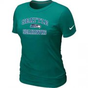 Wholesale Cheap Women's Nike Seattle Seahawks Heart & Soul NFL T-Shirt Light Green