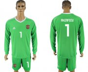 Wholesale Cheap Russia #1 Akinfeev Green Long Sleeves Goalkeeper Soccer Country Jersey
