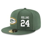 Wholesale Cheap Green Bay Packers #24 Quinten Rollins Snapback Cap NFL Player Green with White Number Stitched Hat