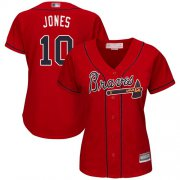 Wholesale Cheap Braves #10 Chipper Jones Red Alternate Women's Stitched MLB Jersey