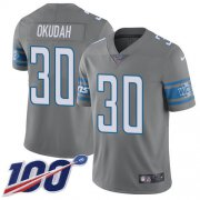 Wholesale Cheap Nike Lions #30 Jeff Okudah Gray Youth Stitched NFL Limited Rush 100th Season Jersey