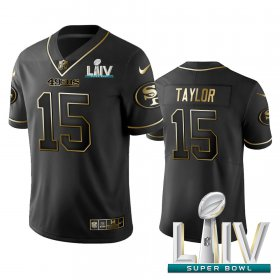 Wholesale Cheap Nike 49ers #15 Trent Taylor Black Golden Super Bowl LIV 2020 Limited Edition Stitched NFL Jersey