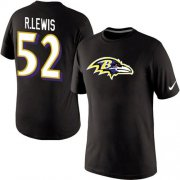 Wholesale Cheap Nike Baltimore Ravens #52 Ray Lewis Name & Number NFL T-Shirt Black