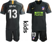 Wholesale Cheap Atletico Madrid #13 Oblak Black Goalkeeper Kid Soccer Club Jersey