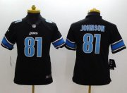 Wholesale Cheap Nike Lions #81 Calvin Johnson Black Alternate Youth Stitched NFL Limited Jersey