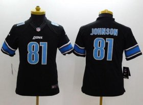 Wholesale Nike Lions #81 Calvin Johnson Black Alternate Youth Stitched NFL Limited Jersey