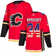 Wholesale Cheap Adidas Flames #34 Miikka Kiprusoff Red Home Authentic USA Flag Stitched NHL Jersey