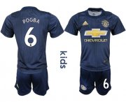 Wholesale Cheap Manchester United #6 Pogba Third Kid Soccer Club Jersey
