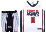 Wholesale Cheap USA Basketball Retro 1992 Olympic Dream Team 9 Jordan White Basketball Suit